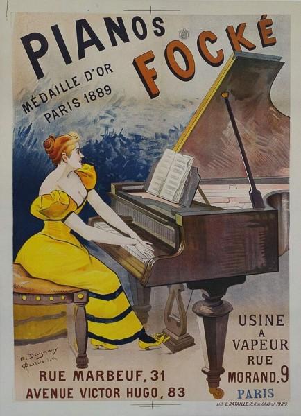 Original Vintage Piano Focke Poster
