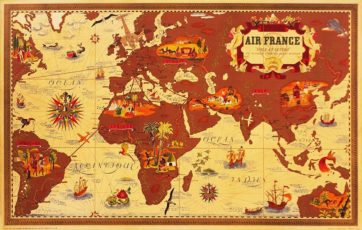 Air France Map (Beige)
