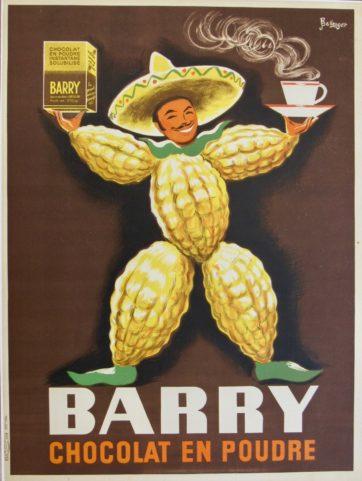 Original vintage Barry chocolat en poudre poster