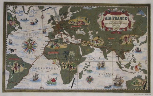 Air France Beige Map Poster